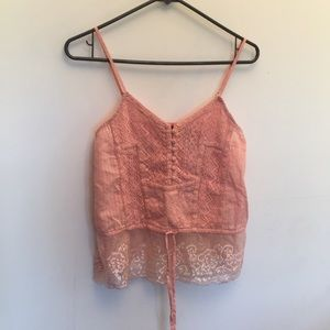 BKE crop tank top with lace and adjustable tie